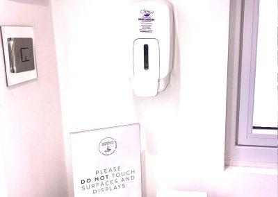 Hygiene station Skinology entrance